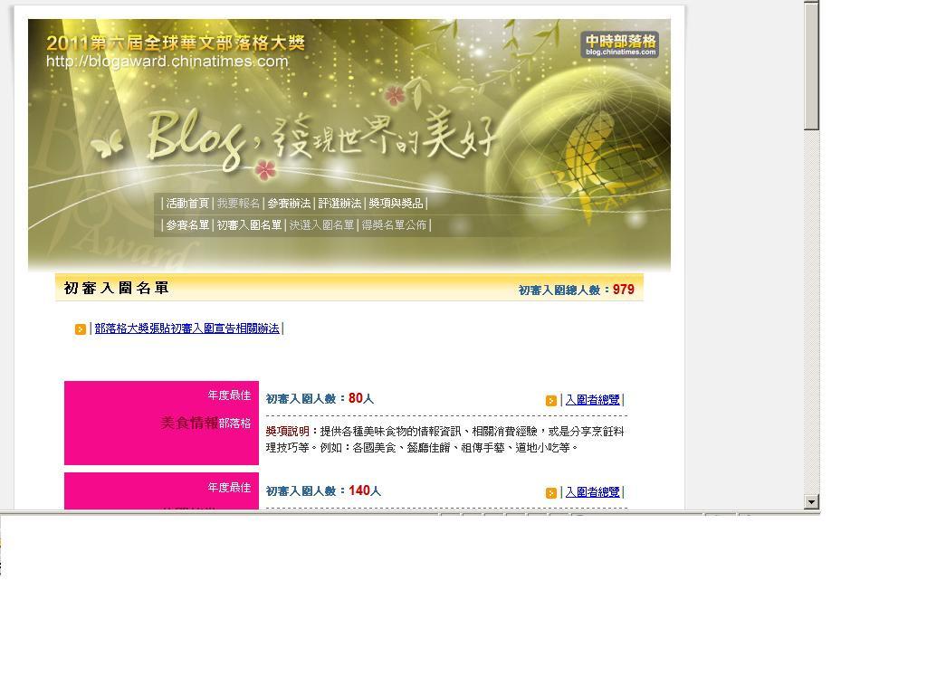 【賀】美食魚樂誌入圍2011全球華文部落格大獎 @魚樂分享誌